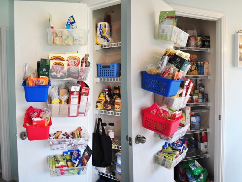 Screw in extra containers into the pantry door for more pantry storage.