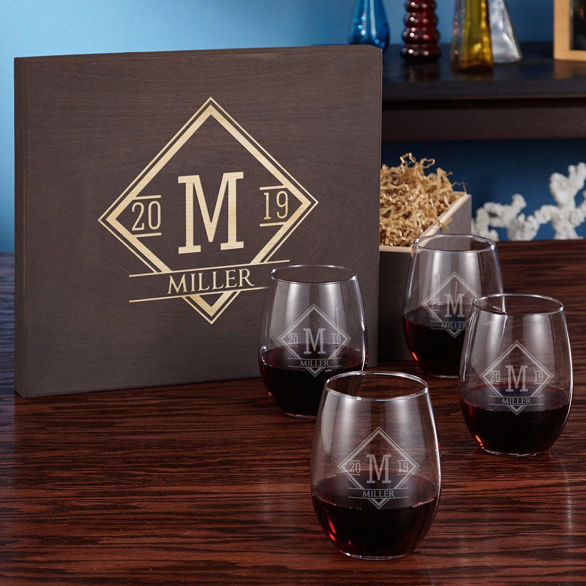 Drake Stemless Engraved Wine Glass Gift Box Set in 2020