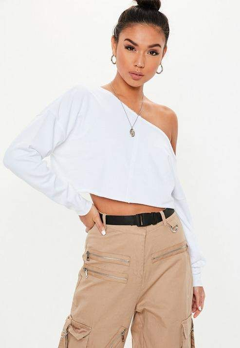b224e32680 White Off The Shoulder Cropped Sweatshirt in 2019 | Products | White ...