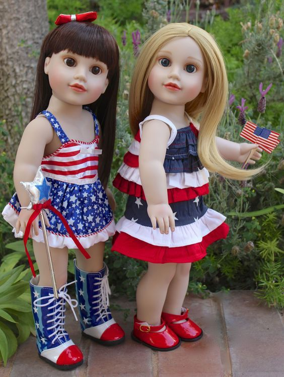 Harmony Club Dolls has American Doll Clothes for July 4 to fit 18 dolls the size of American Girl. Visit www.harmonyclubdolls.com