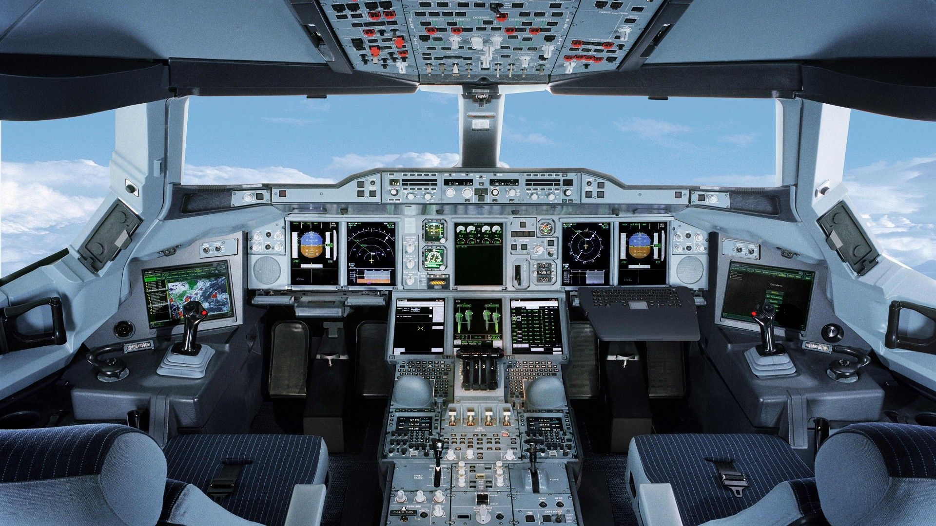 Aircraft cockpit airbus a380 800 cabinas pinterest for Airplane cockpit wall mural