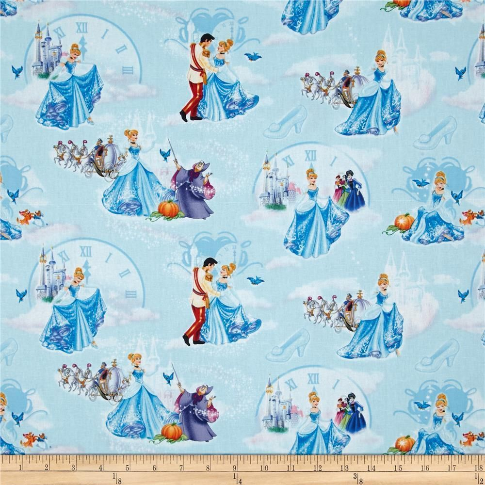 Disney Princess Cinderella At The Ball Clock Carriage Light Blue Fabric YARD