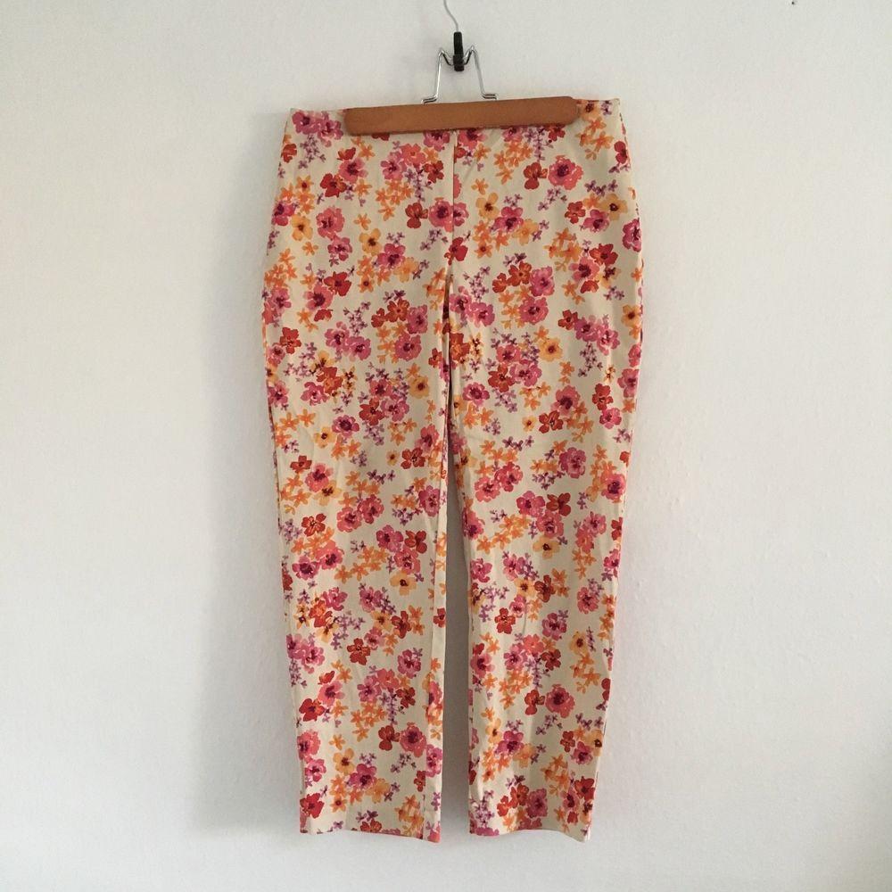 b74e5f2c61117 Express Stretch Capri Floral Print Women's Size 5 / 6 Small Fun ...