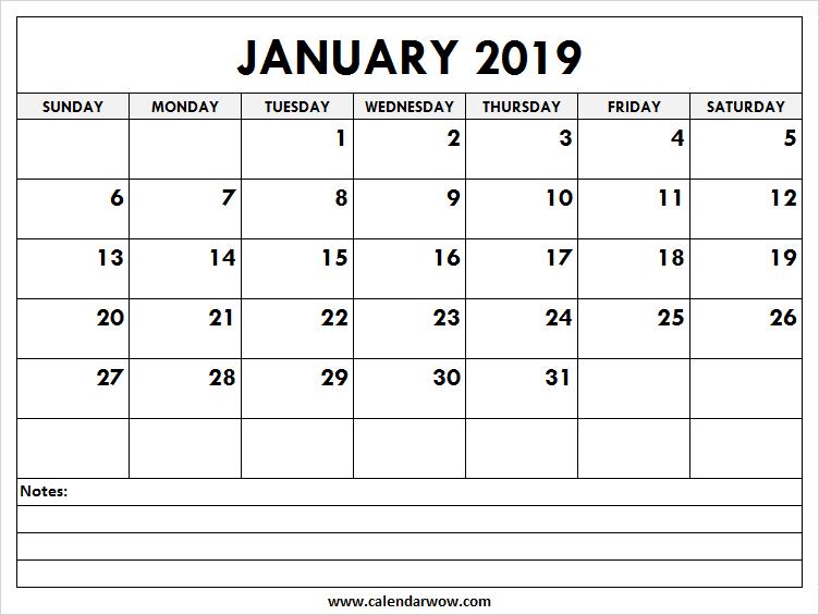 photo regarding Calendar Notes called Printable January 2019 Calendar with Notes 2018 Calendar