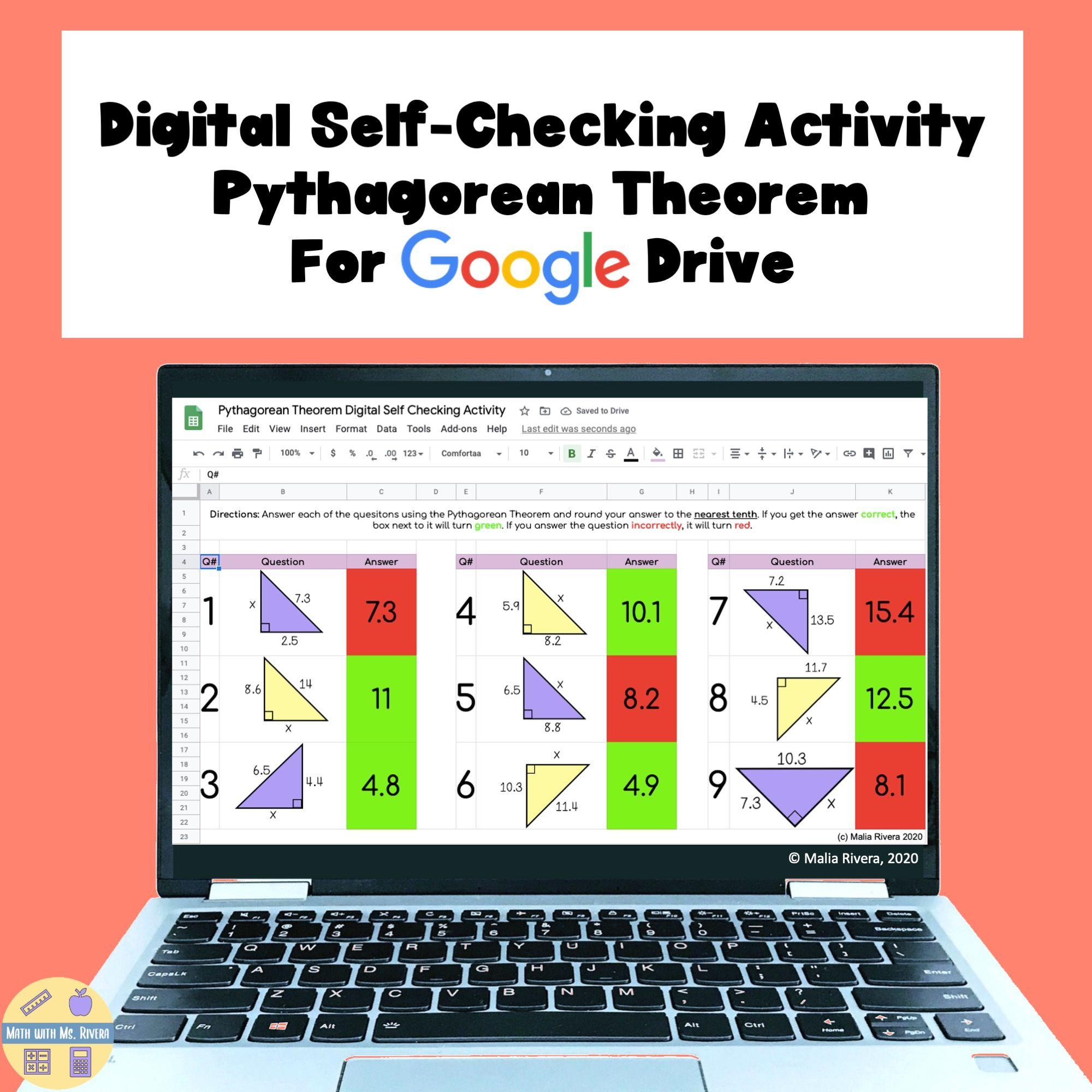 Pythagorean Theorem Digital Self Checking Activity In 2021 Pythagorean Theorem Theorems Middle School Math Resources [ 2000 x 2000 Pixel ]