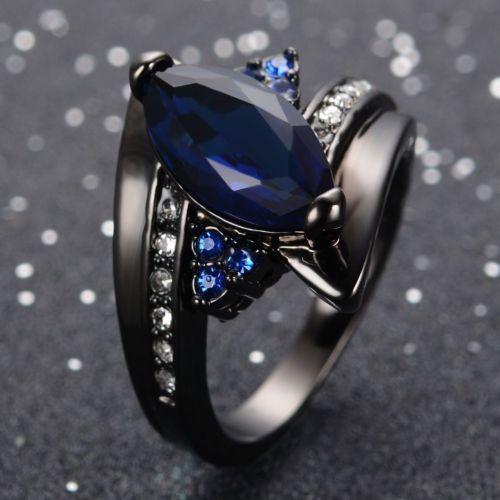 1CT Fashion Women 925 Silver Sapphire Gemstone Size 10 Wedding ...