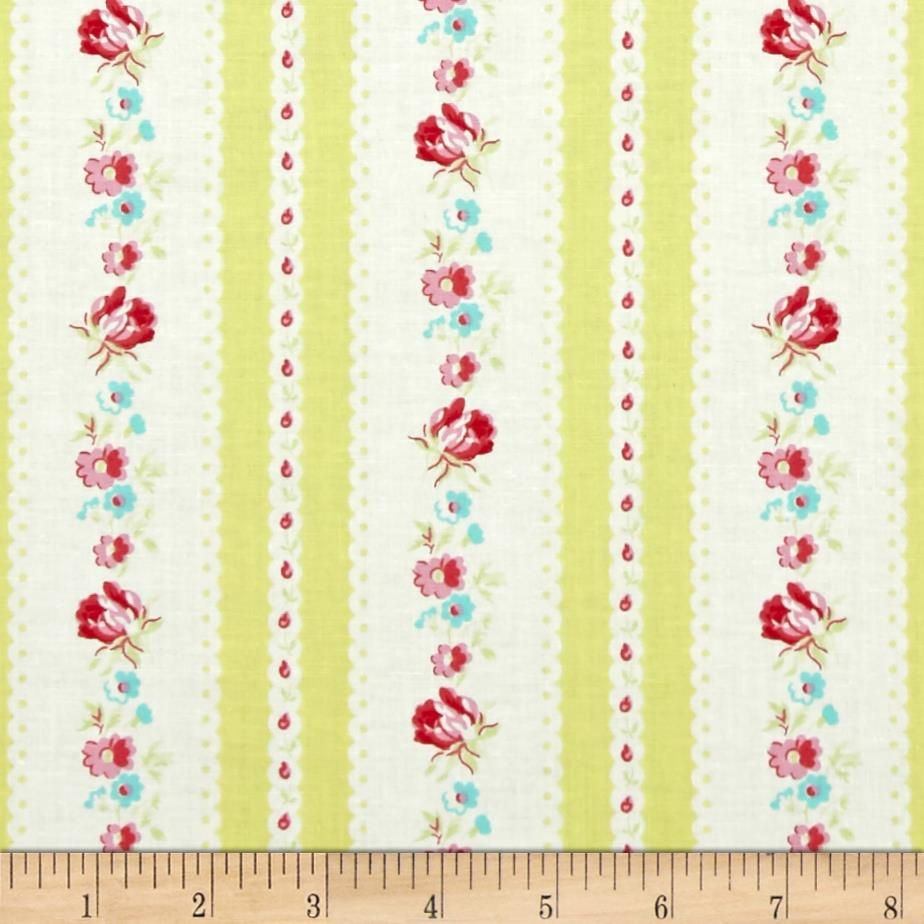 Tanya Whelan Lola Garden Ticking Yellow from @fabricdotcom  Designed by Tanya Whelan for Free Spirit, this cotton print is perfect for quilting, apparel and home decor accents.  Colors include white, shades of pink, shades of yellow and shades of green.