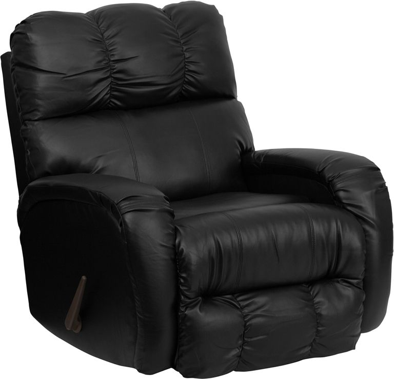 Bentley black leather chaise rocker recliner leather