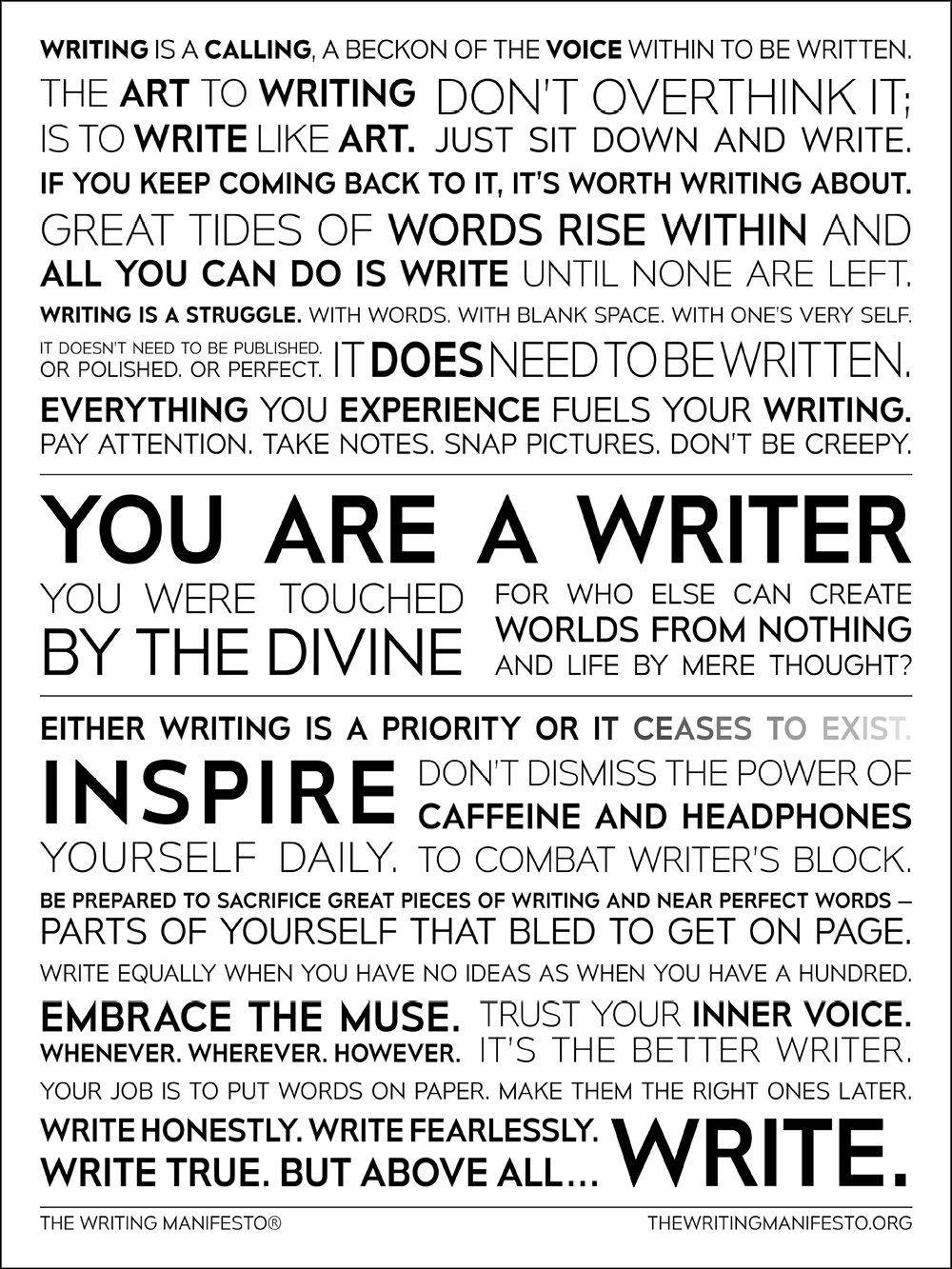 The Writing Manifesto: Inspirational Writing Quotes for Writers, Authors & Poets