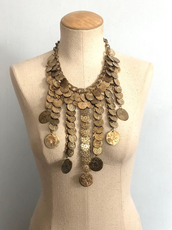 Vintage Goldtone Turquoise Boho 70s Metal Necklace Gold
