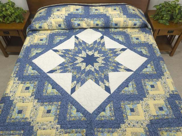 Lone Star Log Cabin Quilt Magnificent Carefully Made
