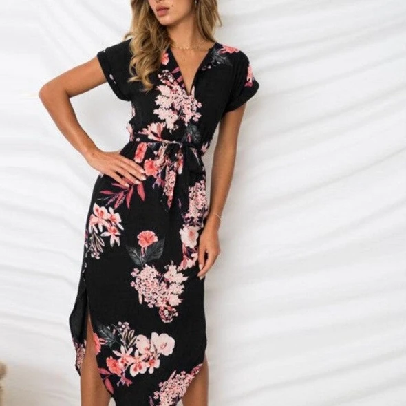 Womens Geometry Floral Short Sleeve Midi Dress Summer Beach Lace Up Shift Dress