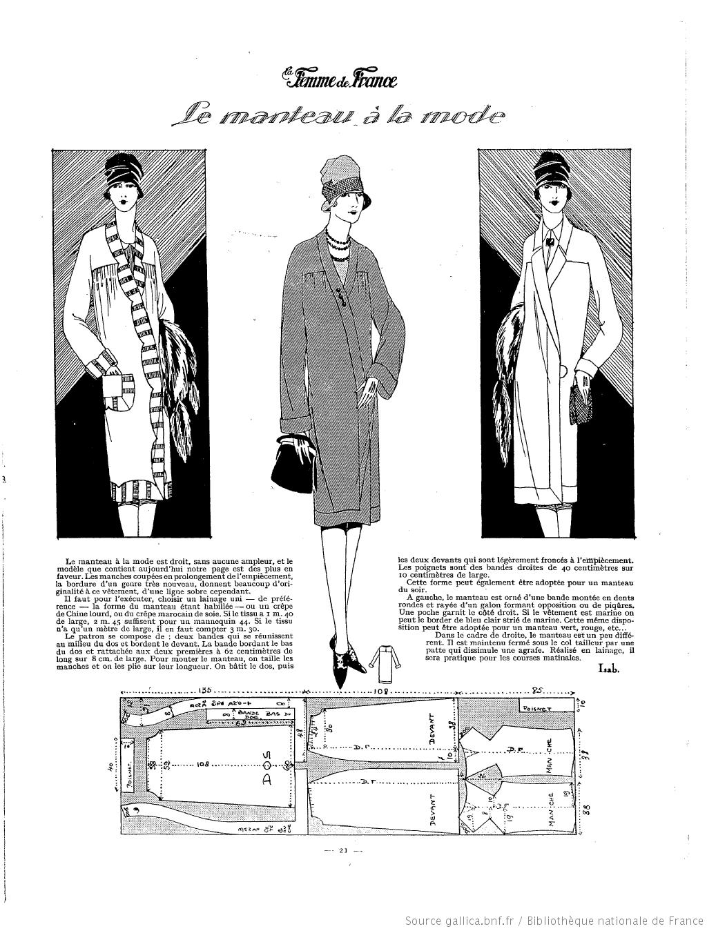 Manteau (La Femme de France 13/03/1927) | 1920\'s | Pinterest | De ...