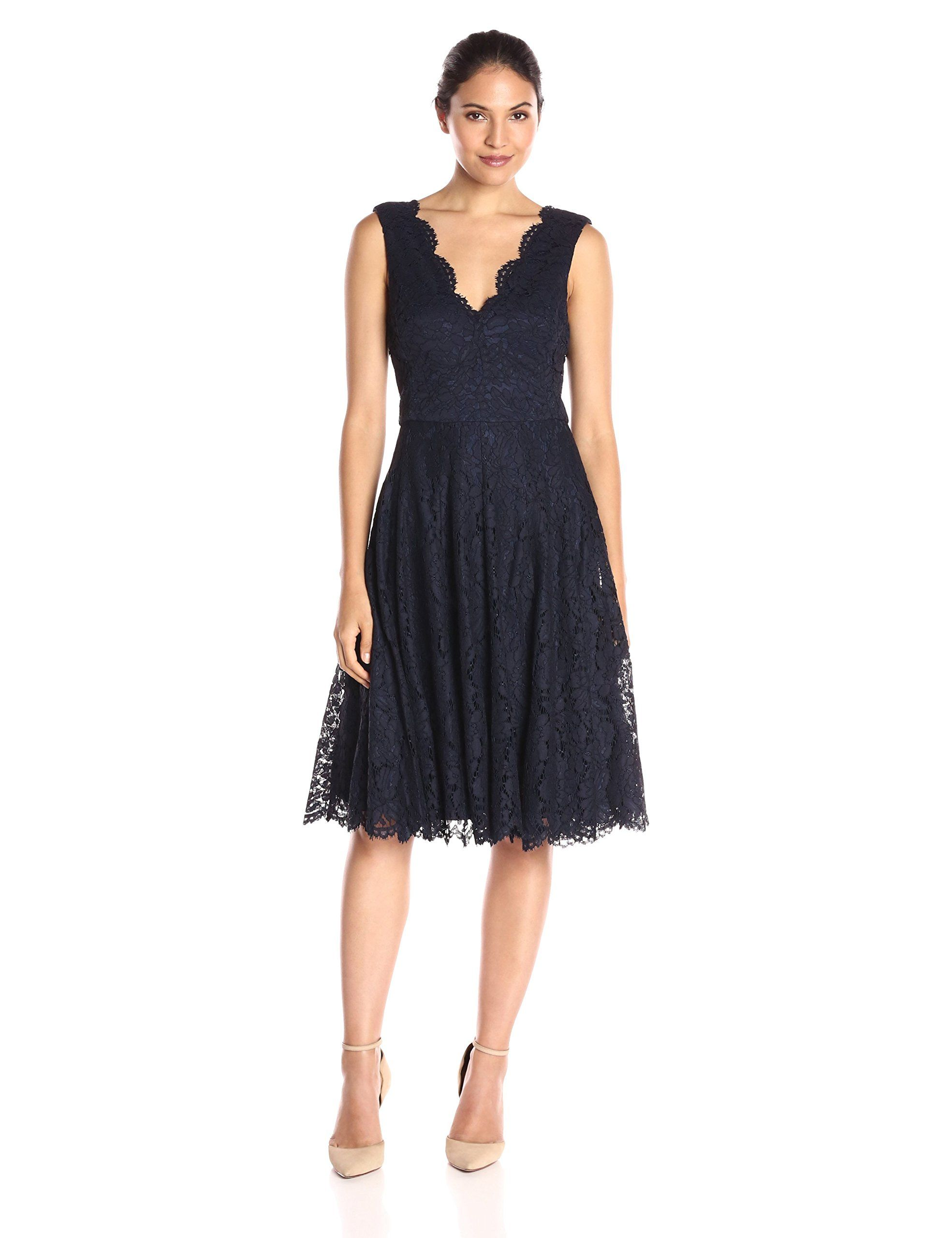Vera Wang Women\'s Double Scallop Lace Fit-and-Flare Dress | fashion ...