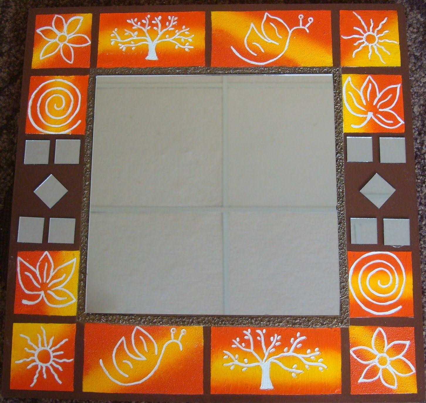 Manualidades espejo con textura de trupan by taller - Espejos para manualidades ...