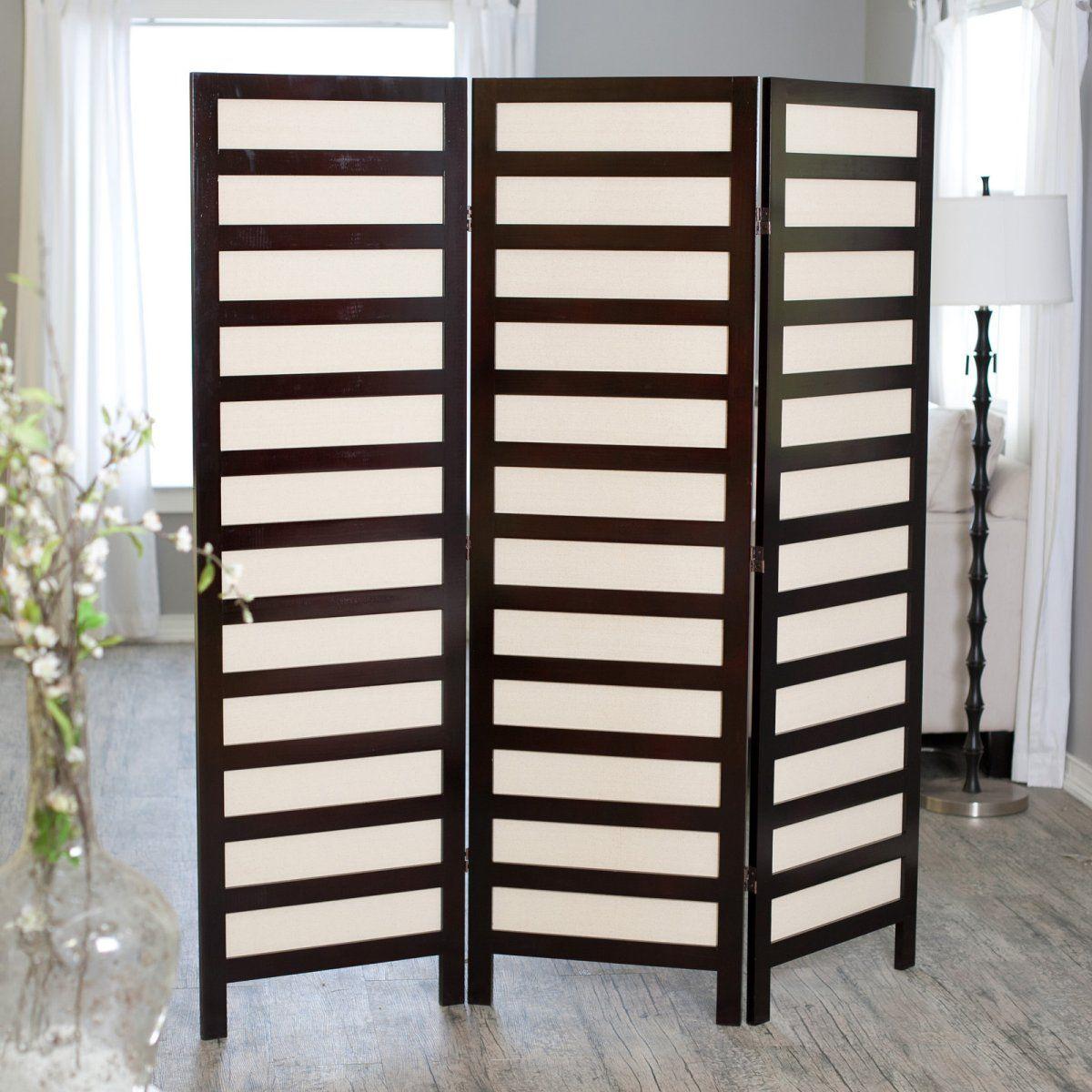 Appealing wooden freestanding folding room divider idea in espresso
