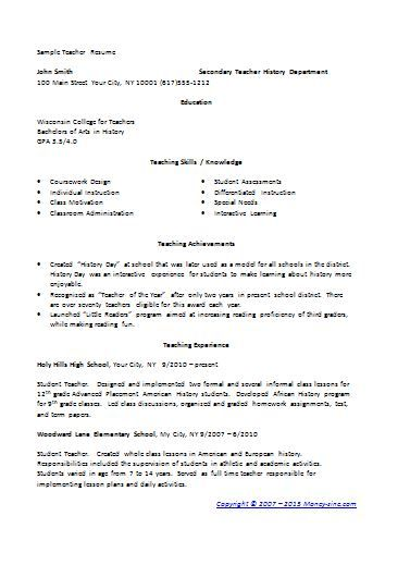 resume format for teachers , Using Teaching Resume Template to Write Your Own , The teaching resume template is the one that can be a great help for you to write your own resume if you work as an educator who works with students, ...