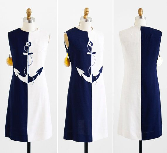 vintage 1960s dress / 60s dress / Navy Blue and White Nautical