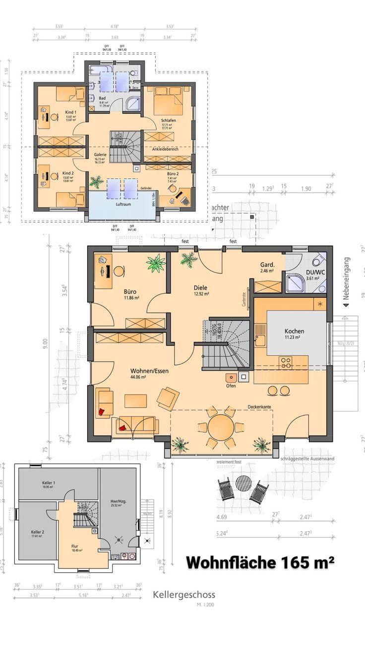 Hausplanung eines einfamilienhauses mit keller auf einer for Hausplanung grundriss