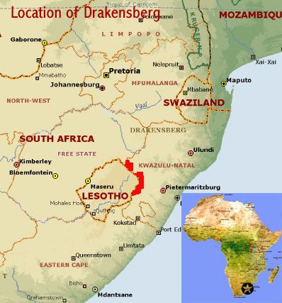 map showing the location of the maloti drakensberg mountains park