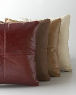 Swell 4Ax5 Massoud Cream Leather Pillow Red Leather Pillow Tan Andrewgaddart Wooden Chair Designs For Living Room Andrewgaddartcom