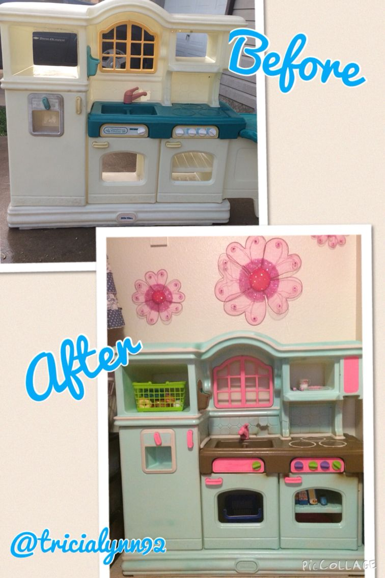tricialynn92 Play kitchen makeover Plastic play kitchen