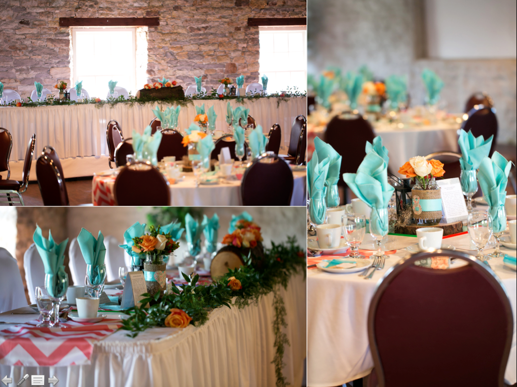 aqua, peach, and coral rustic table setting. Table linens from Mastermind Events, Orleans, ON