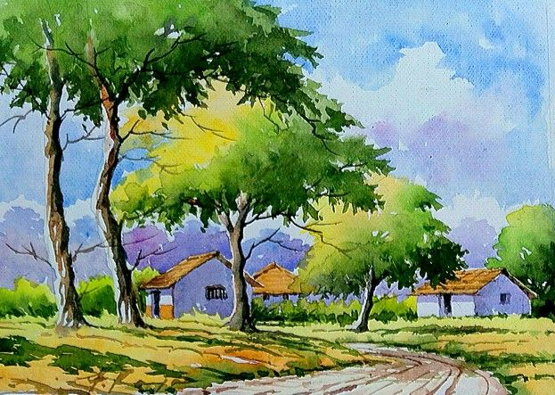 Watercolor By Me Watercolor Landscape Paintings Watercolor