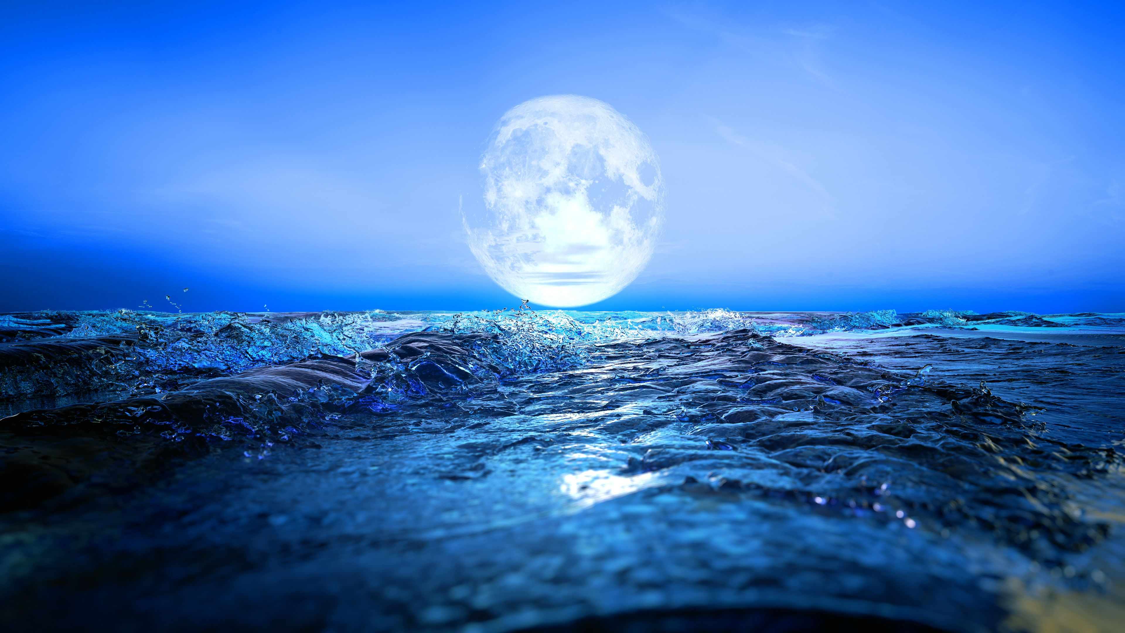 Beautiful Landscape Of Blue Ocean And Full Moon Stock Footage Blue Ocean Beautiful Landscape Landscape Pictures Landscape Background Landscape Wallpaper