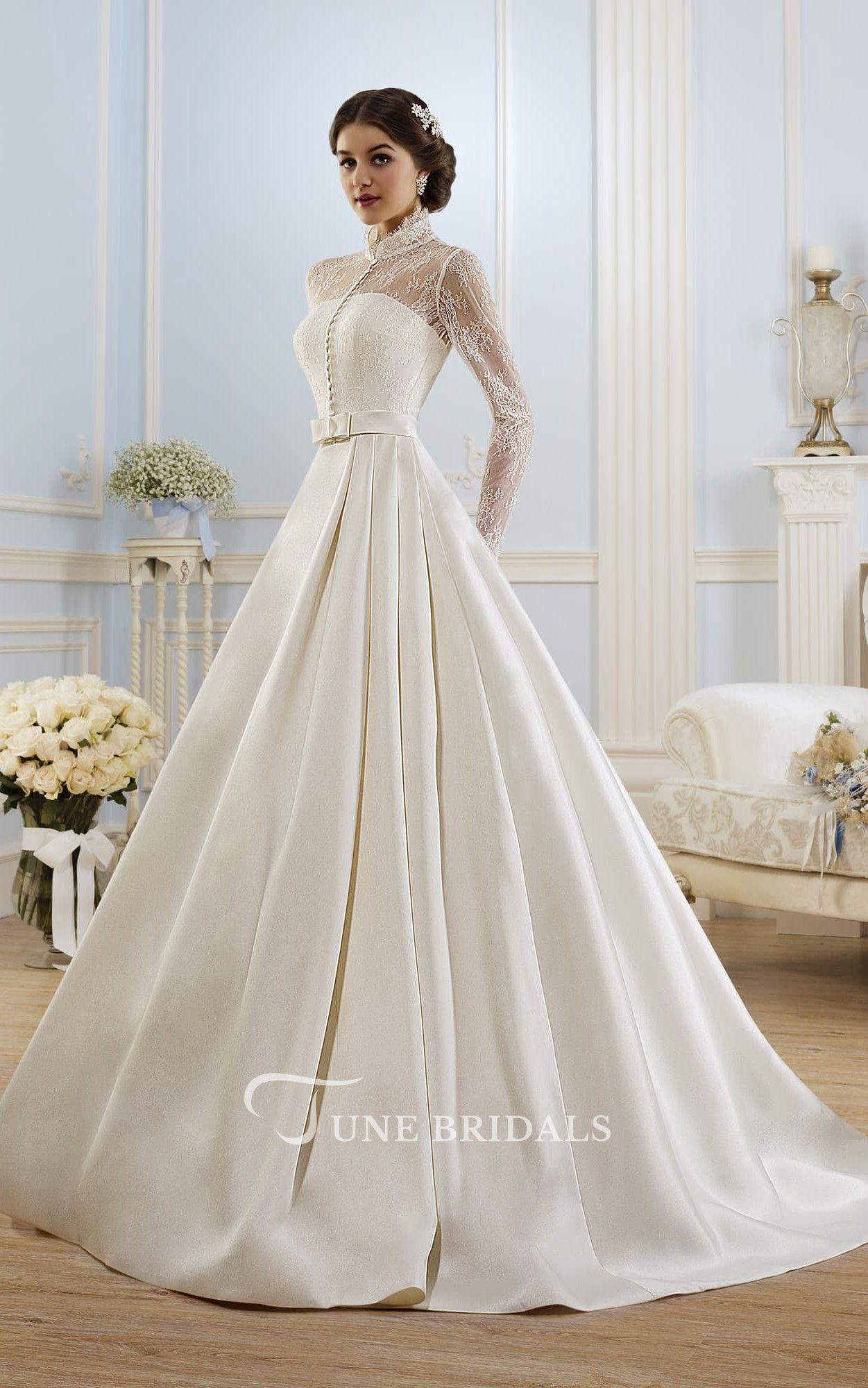 Balón Vestido Largo De Cuello Alto De Manga Larga Ilusión Vestido De Satén Con Encaje Modest Wedding Dresses Ball Gowns Wedding Wedding Dresses Satin