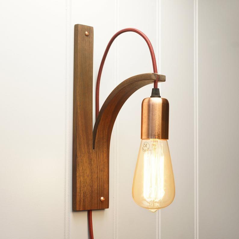 Walnut Wall Light Wall Sconce Interior Lighting Wooden Lamp