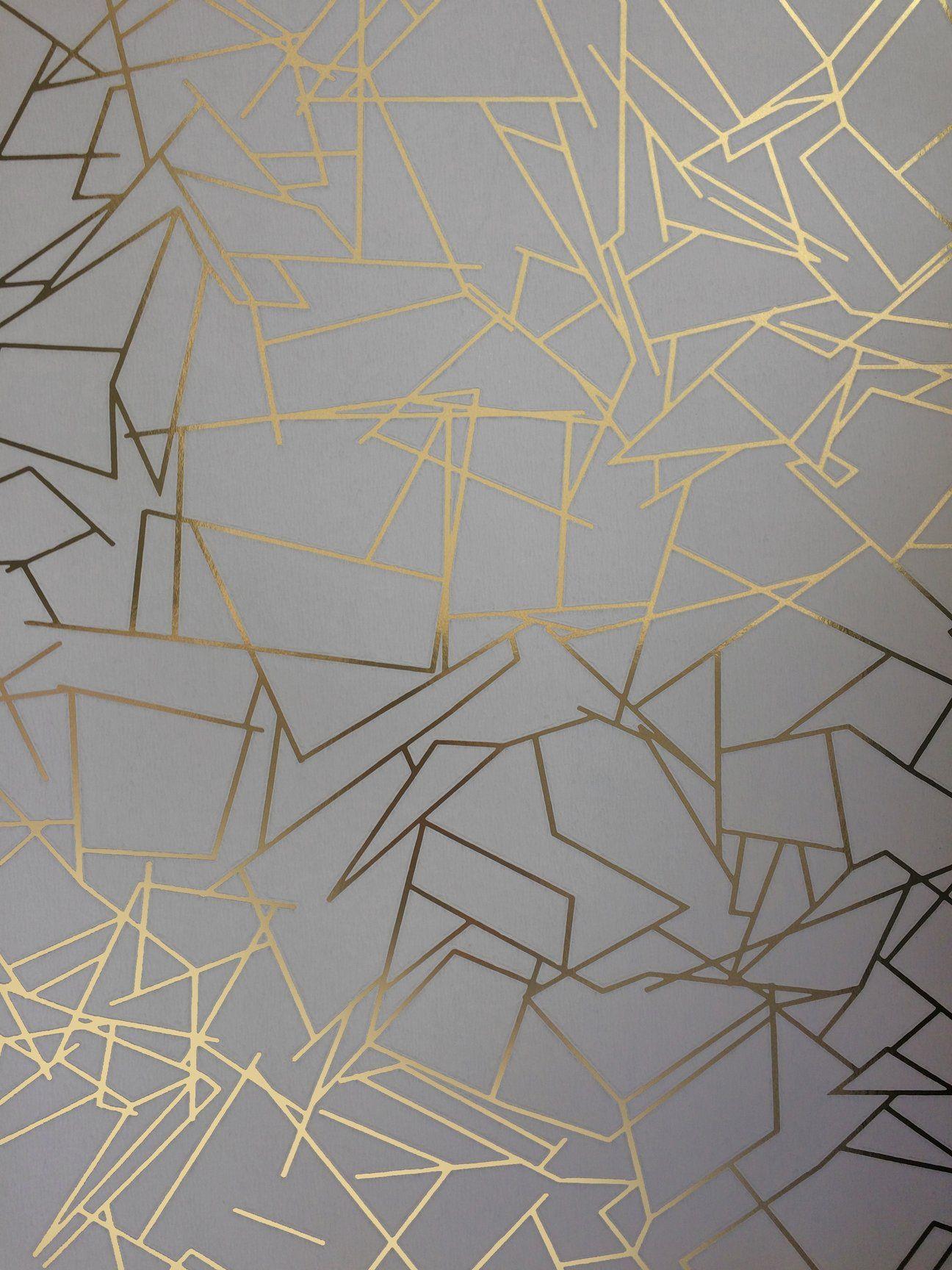 Angle Gold Zinc Grey Wallcovering Geometric wallpaper