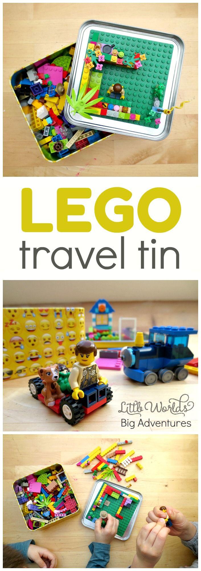 Top tips for putting together a LEGO travel tin.   Little Worlds Big Adventures #lego #traveltips #traveltin #creativity #kidsactivities