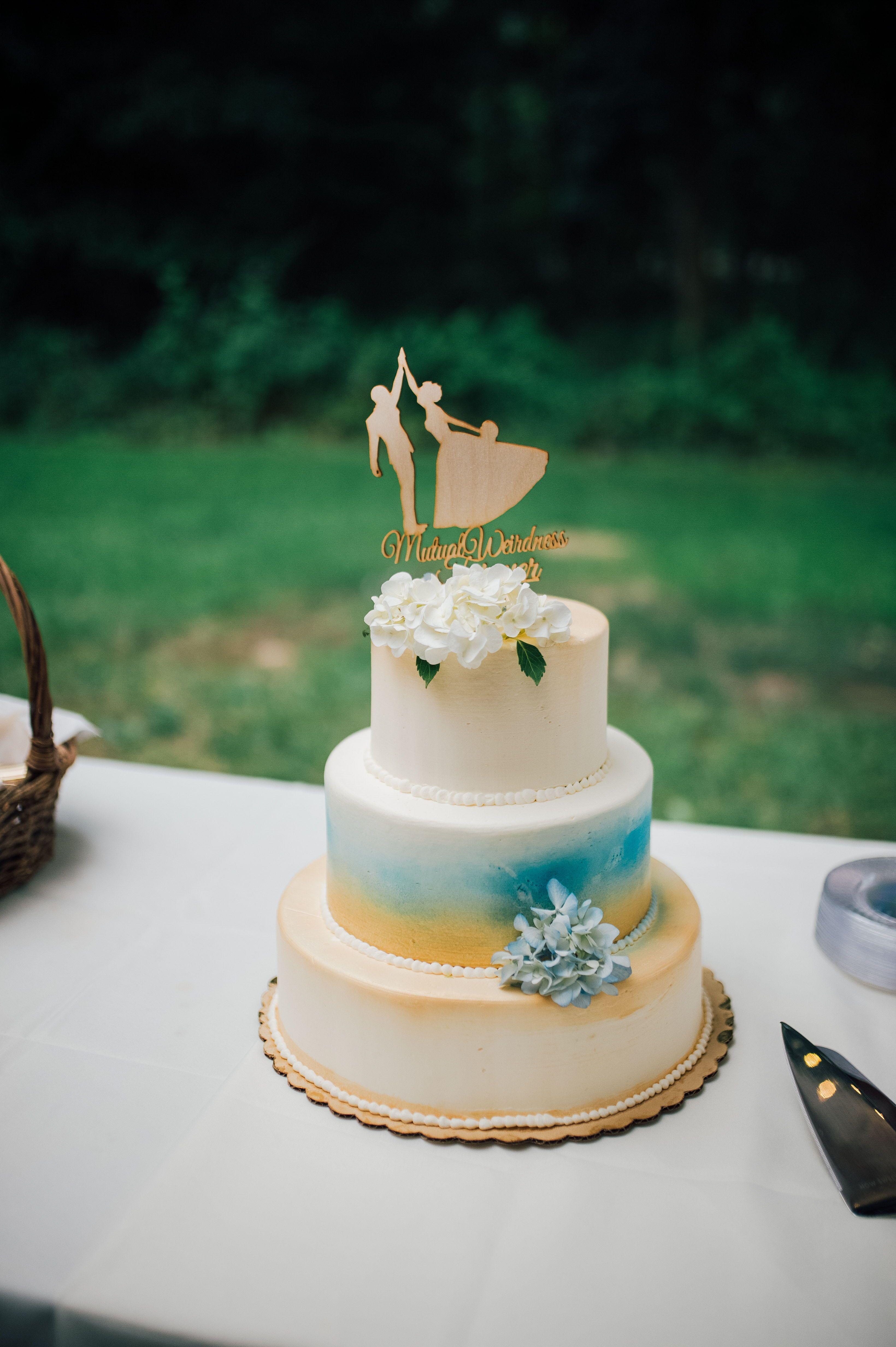 Wedding Photographer Blue And Gold Wedding Cake Wood Wedding Cake Topper Unique Wedding Wedding Cake Toppers Wood Cake Topper Wedding Spring Wedding Cake