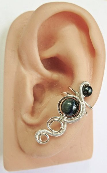 Blue Tiger Eye & Tarnish-Resistant Silver Coil Cascade Ear Cuff