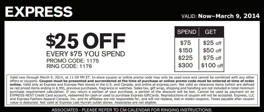 Express 25 Off 75 Printable Coupon Promo Codes Online Printable Coupons Coupon Apps