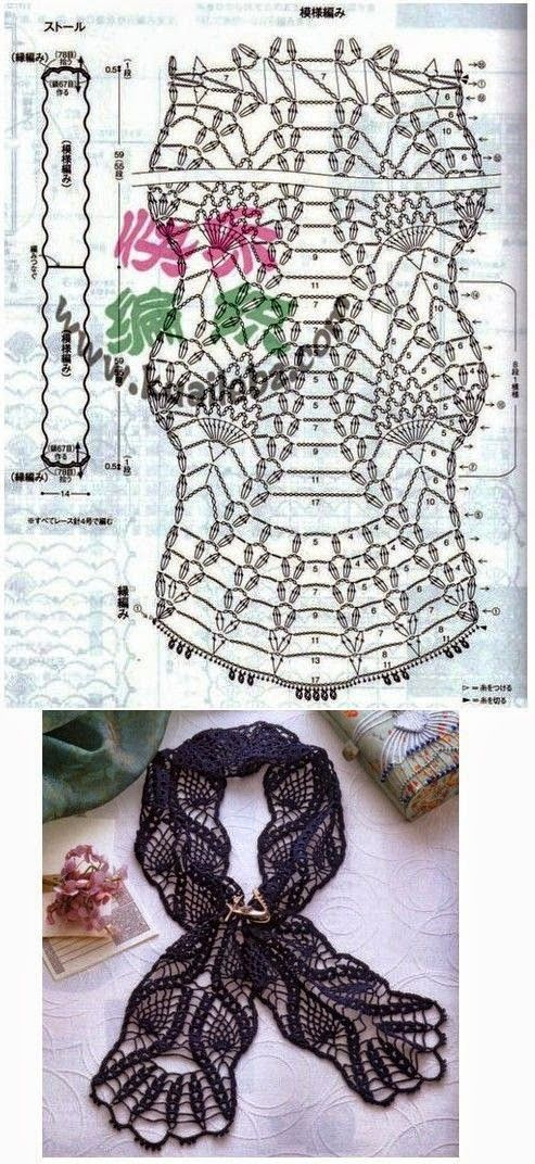 Bufanda en hilo tejida al crochet | bufandas | Pinterest | Hilo ...