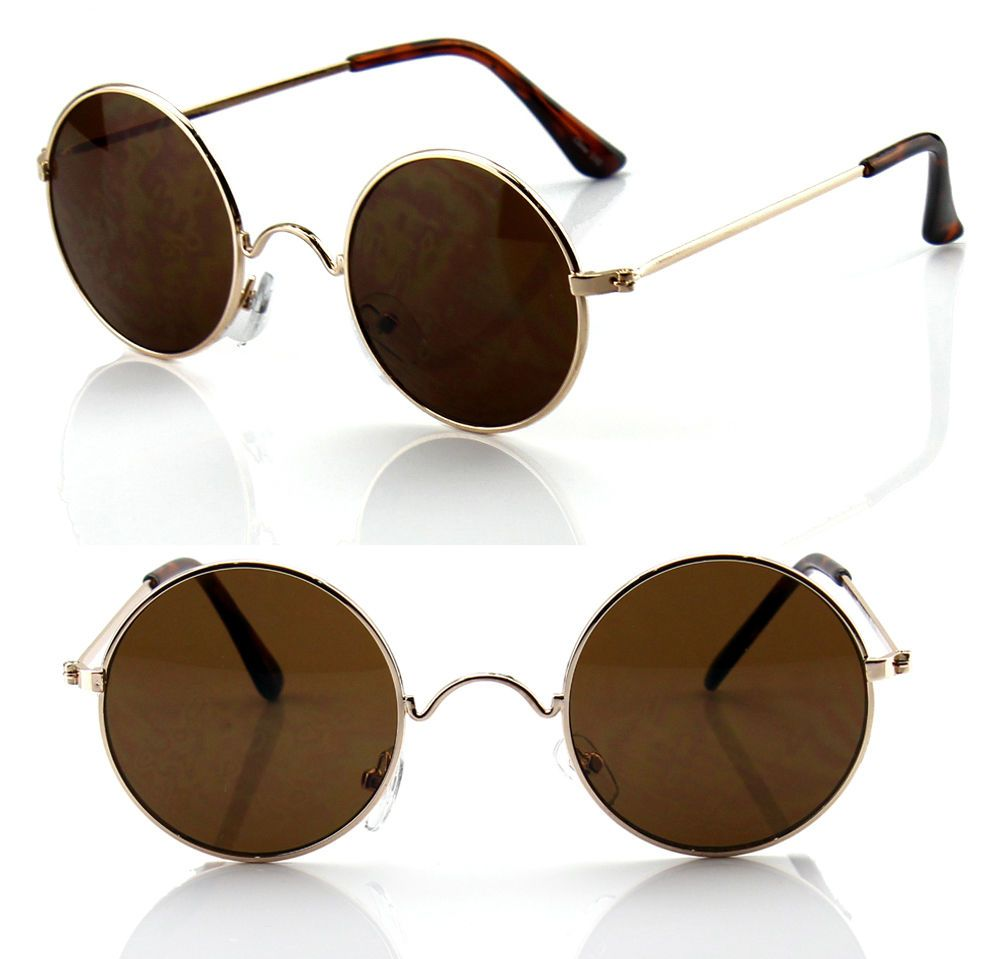 669cabaa24 New Mens Womens John Lennon Sunglasses Round Hippies Retro Vintage Brown  Fashion