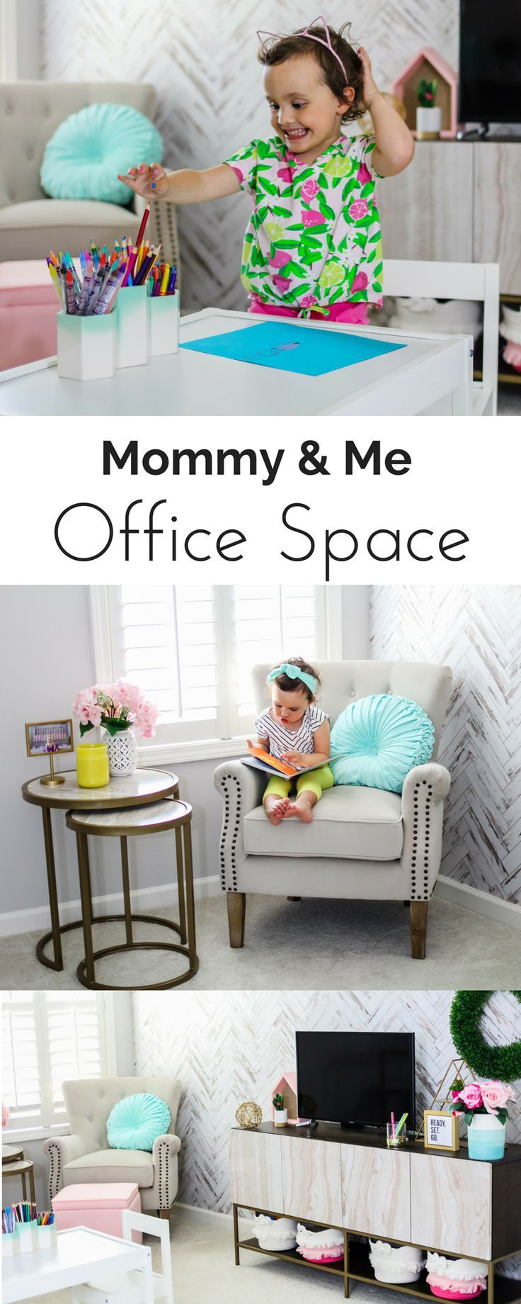 Mommy U0026 Me Office Space | Office Decor | Chevron Walls | Chevron Wallpaper  | Removable Wallpaper | Pink, Mint And Gold Office | #officedecor  #homedecor ...