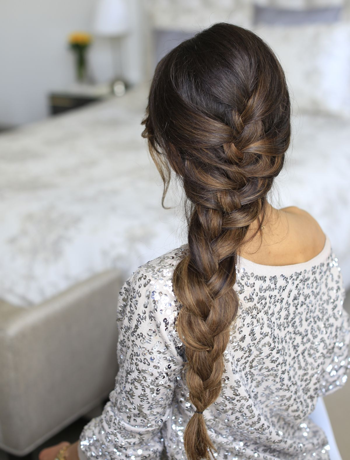 Frozen Queen Elsa Braid created with Ombre Chestnut Luxy Hair Extensions. Click to learn how to create this thick voluminous effortless braid! #LuxyHairExtensions