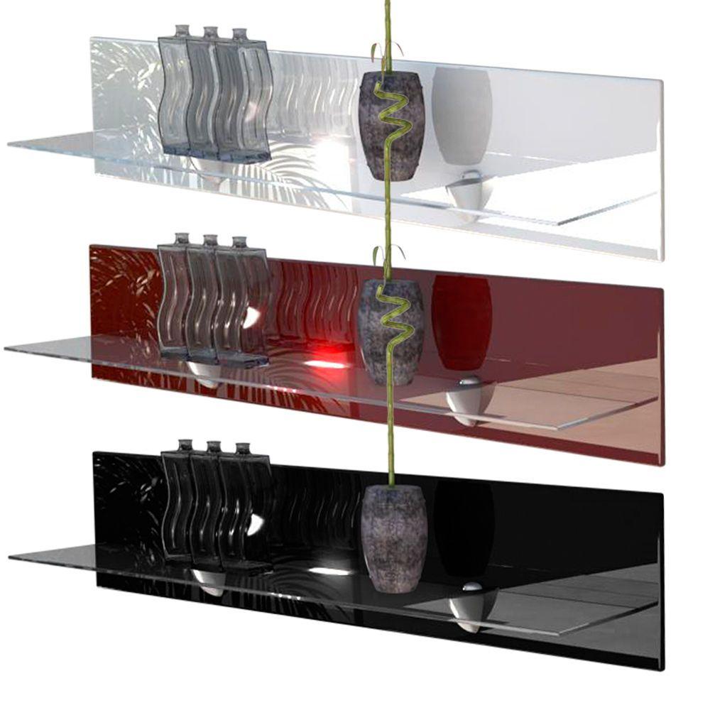 Floating Gl Shelf Unit Wall Mounted Shelves Bari High Gloss Natural Tones