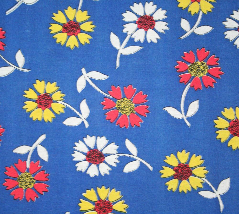 Vintage Floral Print Vintage 1950s Pure Crisp Cotton Simple Flower Print Fabric Blue