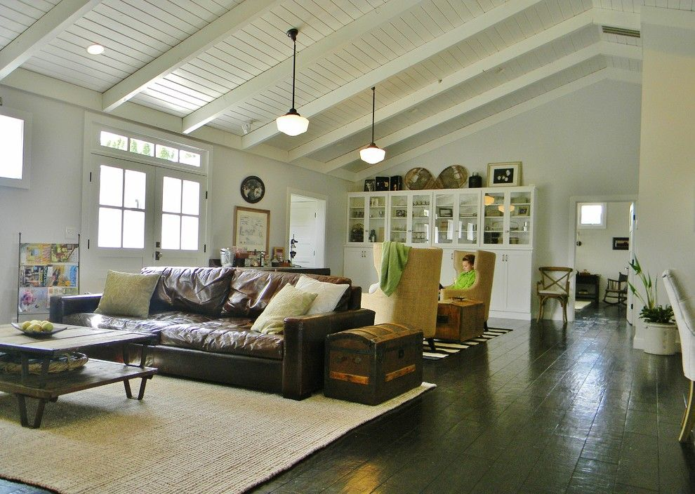 Distressed Leather Sofa Family Room Farmhouse With Brown Dark