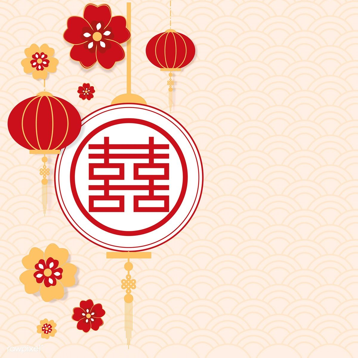 Chinese new year greeting round red banner vector free