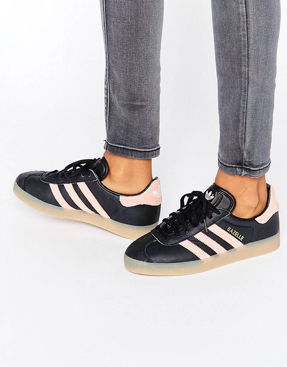 new concept 9b1c1 a545e adidas Originals Black And Pink Gazelle Trainers With Gum So