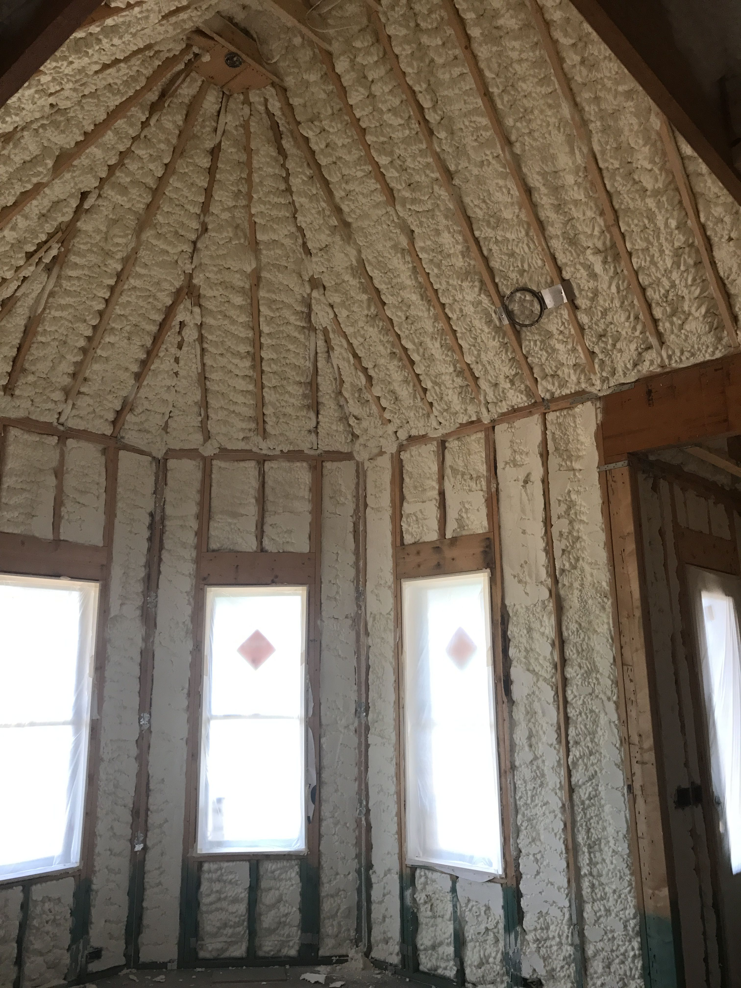 Spray Foam Insulation Used On Roof Deck And Exterior Walls Looks