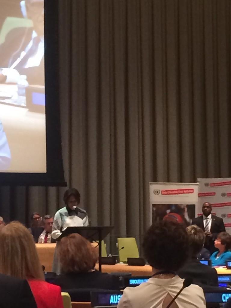 """Rosa Lund on Twitter: """"Michelle Obama taler om hvor vigtigt uddannelse er for at sikre ligestilling mellem kønnene verden over #UNGA14 http://t.co/HfPIwCAwzO"""""""