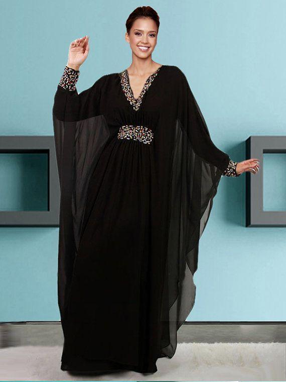 abd7cd1ade7 Robe caftan brodé main Belles dames nouvelle broderie de Farasha Jalabiya  Dubaï caftan Abaya Description Papillon