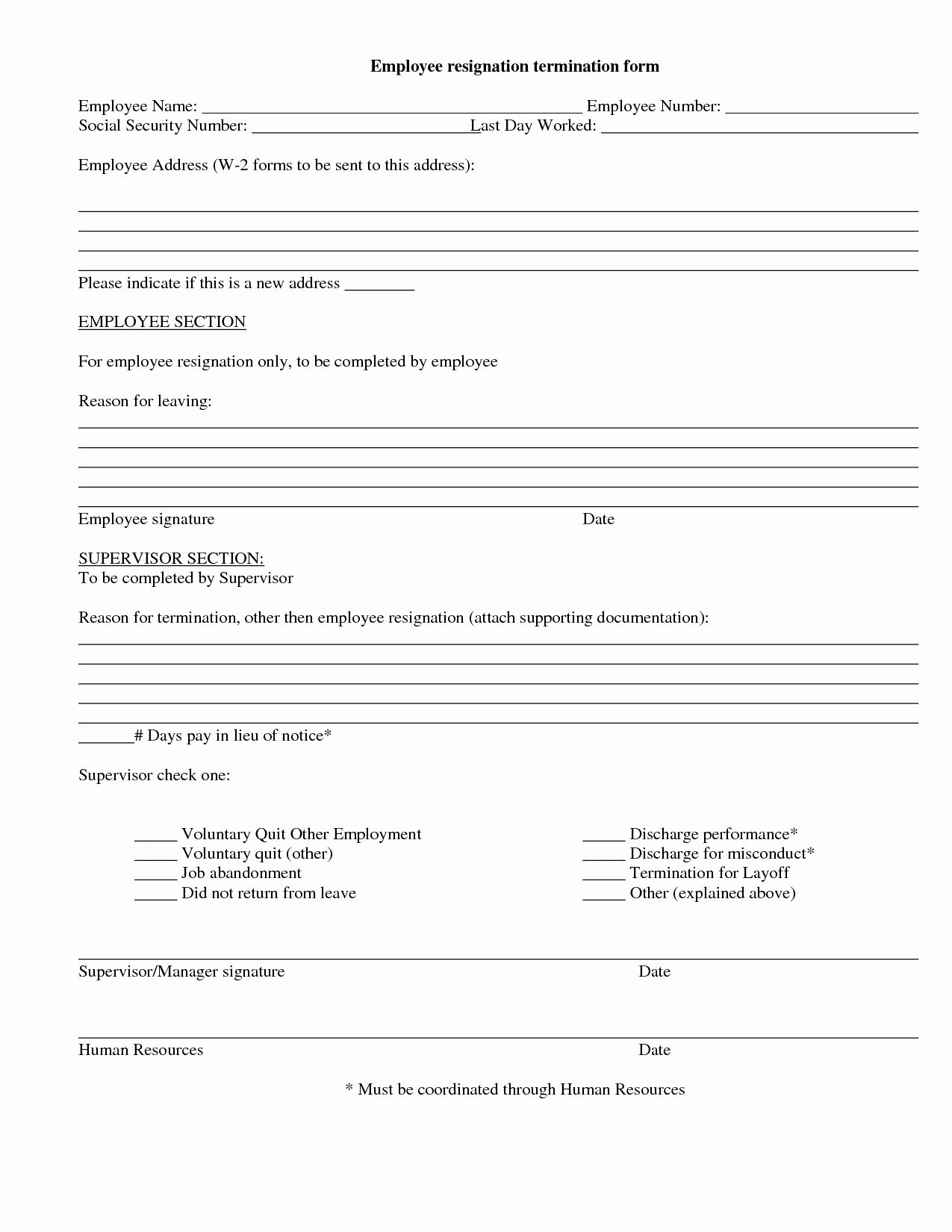Employee Termination form Template Beautiful 9 Best Of