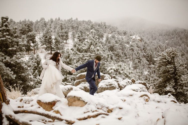 Photo of Winter Adventure Inspiration | Snowy Day After Wedding Session | The Colorado Chautauqua, Boulder | Adventure Wedding Photographers